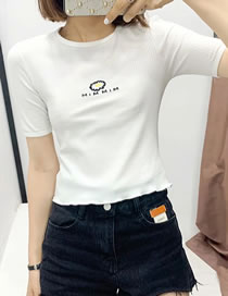 Fashion White Daisy Embroidered T-shirt Top