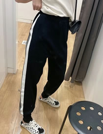 Fashion Black Side Color-block Knitted Sports Trousers