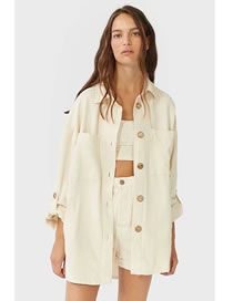 Fashion Creamy-white Shirt-style Single-breasted Solid Color Loose Coat