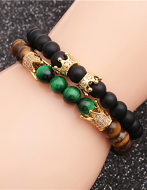 Fashion Gold Color Suit Frosted Tiger Eye Stone Crown Beaded Bracelet Set