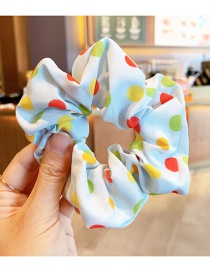 Fashion Color Wave Point [blue] Flower Polka Dot Star Print Contrast Color Children's Large Intestine Circle Hair Rope