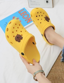Fashion Yellow Bear Print Toe-toe Flat Shoes With Two Holes
