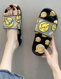 Fashion Black Wear Flat Slippers With Smiley Face Print