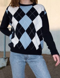 Fashion Blue Contrast Diamond Check Knit Pullover Sweater