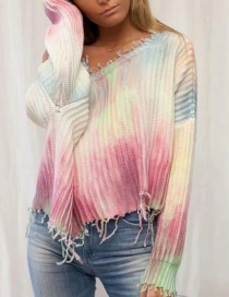 Fashion Color Contrasting Color Printing Irregular Knit Pullover