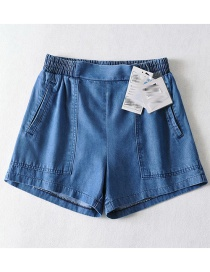 Fashion Dark Blue Pure Color Real Silk Pit Strip Washed Denim Shorts