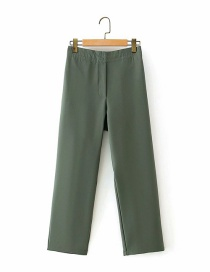 Fashion Green Loose Elastic Straight-leg Cropped Trousers