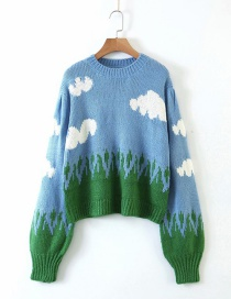 Fashion Blue Blue Sky And White Clouds Pullover Sweater