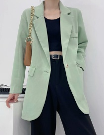 Fashion Green Dropped Shoulders Long One-button Suit Jacket