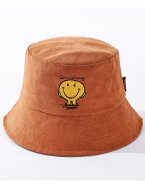 Fashion Caramel Embroidered Smiley Contrast Color Fisherman Hat