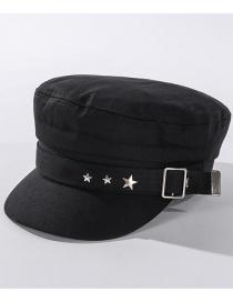 Fashion Black Studded Star Flat Navy Cap