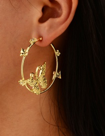 Fashion Gold Color Alloy Butterfly Ring Hollow Stud Earrings