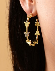 Fashion Gold Color Alloy Diamond Butterfly Ring Stud Earrings