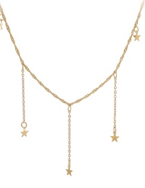 Fashion Golden Five-pointed Star Tassel Alloy Necklace