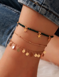 Fashion Color Mixing Rice Beads Braided Five-pointed Star Disc Anklet Set