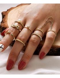 Fashion Golden Pearl Chain Set With Diamond Twist Open Ring Set