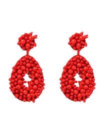 Fashion Red Handmade Rice Beads Woven Geometric Hollow Earrings