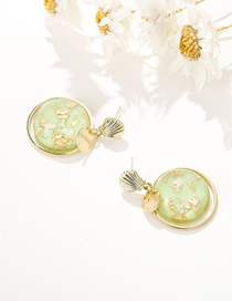 Fashion Green Resin Round Shell-shaped Alloy Earrings