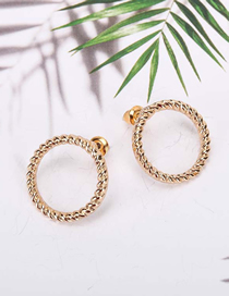 Fashion Gold Color Threaded Round Alloy Hollow Earrings