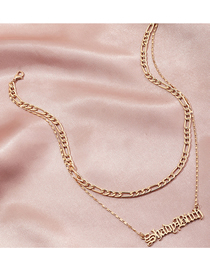 Fashion Gold Color Letter Alloy Hollow Multilayer Necklace