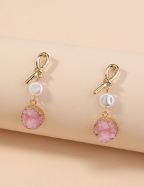 Fashion Pink Beat Crystal Cluster Pendant Pearl Alloy Earrings