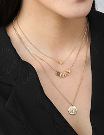Fashion Gold Color Pearl Love Round Lotus Alloy Multilayer Necklace