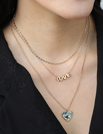 Fashion Gold Color Letter Natural Abalone And Shell Love Pendant Multilayer Necklace