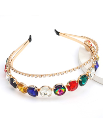 Fashion Color Round Glass Drill Alloy Double Hair Band
