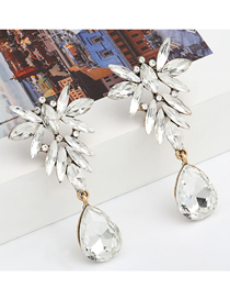 Fashion White Alloy Diamond Drop-shaped Multilayer Earrings