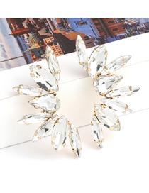 Fashion White Half Radial Alloy Diamond Earrings