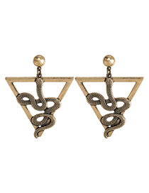 Fashion Ancient Gold Triangle Alloy Snake-shaped Hollow Earrings