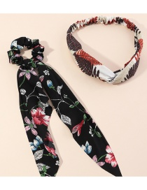 Fashion Black Chiffon Leaf Print Hair Rope And Headband Set
