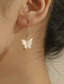 Fashion White Acrylic Butterfly Alloy Round Earrings