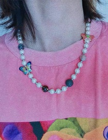 Fashion Pink Butterfly Butterfly Planet Handmade Pearl Necklace