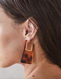 Fashion Tortoiseshell Acrylic Geometric Leopard Print Transparent Alloy Earrings