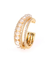 Fashion Golden Diamond Ring And Pearl Open Ring