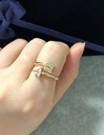 Fashion Golden Copper Inlaid Zircon Arrow Open Ring