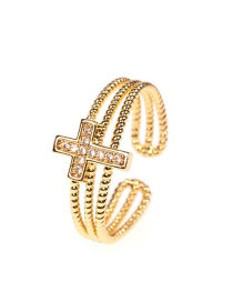 Fashion Cross Copper Inlaid Zircon Five-pointed Star Moon Double Twist Multi-layer Open Ring