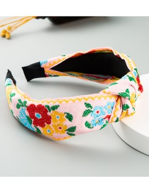 Fashion Pastel Fabric Embroidery Flower Knotted Wide-brim Hair Band