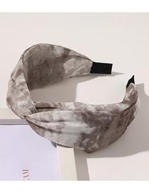 Fashion Gradient Hair Band-gray Wide Side Cross Gradient Tie-dye Print Headband