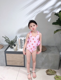 Fashion Pink Strawberry Strawberry Print Bowknot Childrens One-piece Swimsuit