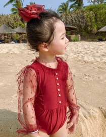 Fashion Burgundy Pearl Pearl Mesh Childrens One-piece Swimsuit