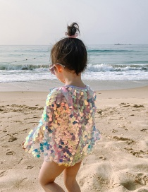 Fashion Small Sequins Veil Mermaid Bow Contrast Color Childrens One-piece Swimsuit Shawl