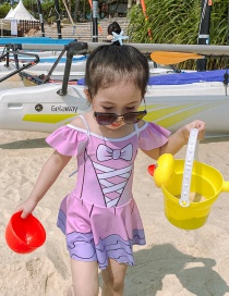 Fashion Pink Band Printed Ruffled Contrast Color Childrens One-piece Swimsuit