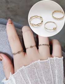 Fashion Golden Corrugated Twist Knotted Hollow Ring Set
