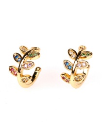 Fashion Golden Leaf Copper Inlaid Zircon Geometric Shape Without Pierced Ears