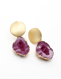 Fashion Red Hollow Water Droplets Imitating Natural Stone Alloy Geometric Earrings
