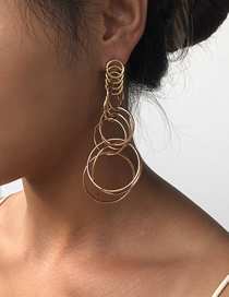 Fashion Golden Multi-layer Large Circle Alloy Earrings