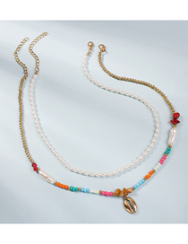 Fashion Color Rice Beads Pearl Alloy Shell Multilayer Necklace