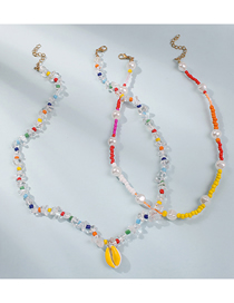 Fashion Color Rice Beads Pearl Woven Crystal Shell Alloy Multilayer Necklace